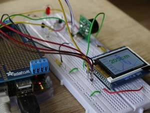 My prototype set-up, showing the Pi, SRF02 and LCD graph display