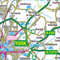 OS 1:250,000 map of North East York. Contains Ordnance Survey data © Crown copyright and database right 2013